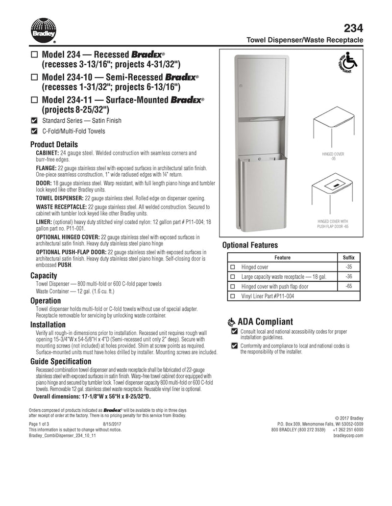 Towel Dispenser/Waste Receptacle, 12 Gal, Semi-Recessed - Bradley-234-100000