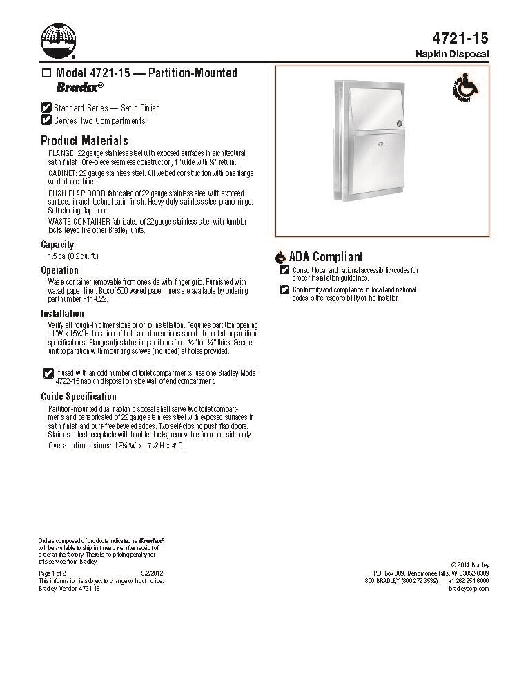 Napkin Disposal, 1.5 Gal, Partition - Bradley - 4721-150000