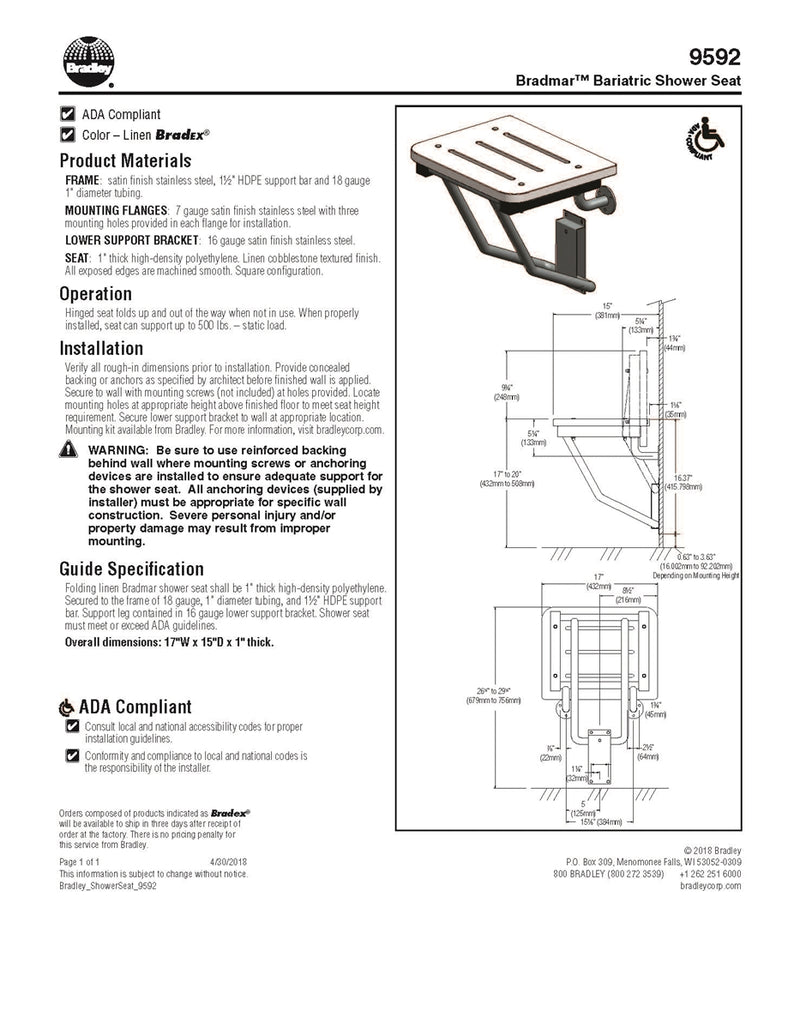 Shower Seat Square HDPE-Bradley - 9592-000000