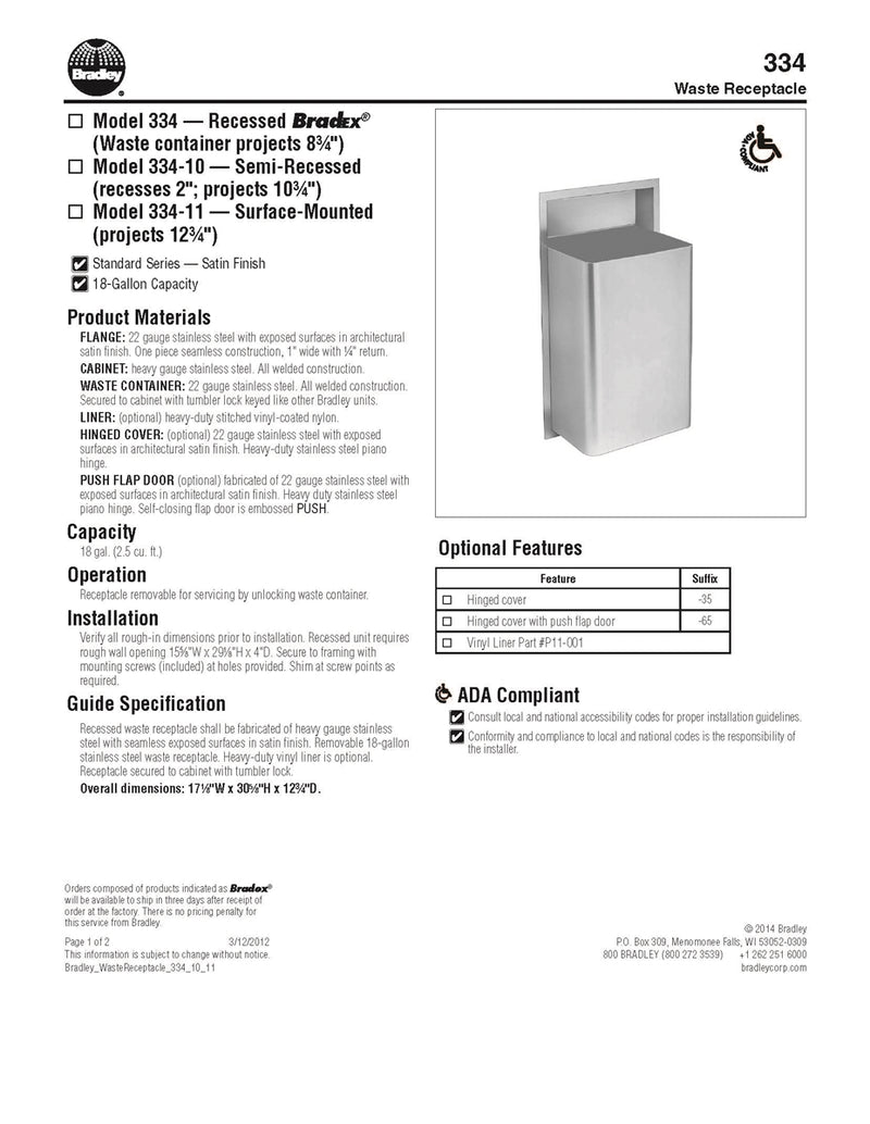 Waste Receptacle 18 gallon - Bradley - 334-000000