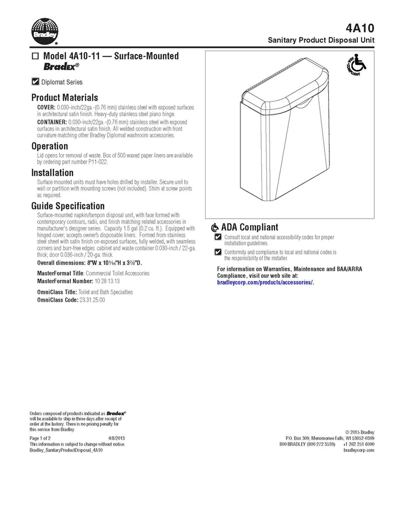 Diplomat Series - Napkin Disposal, 1.5 Gal,Surf Mount - Bradley - 4A10-110000