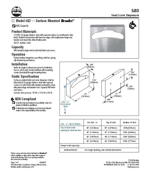 Seat Cover Dispenser, Surface - Bradley - 583-000000