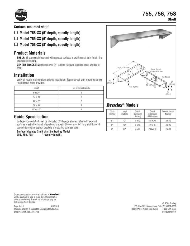 "Stainless Steel Shelf with Integral End Brackets, 5"" Depth x 12"" Length - Bradley - 755-12"
