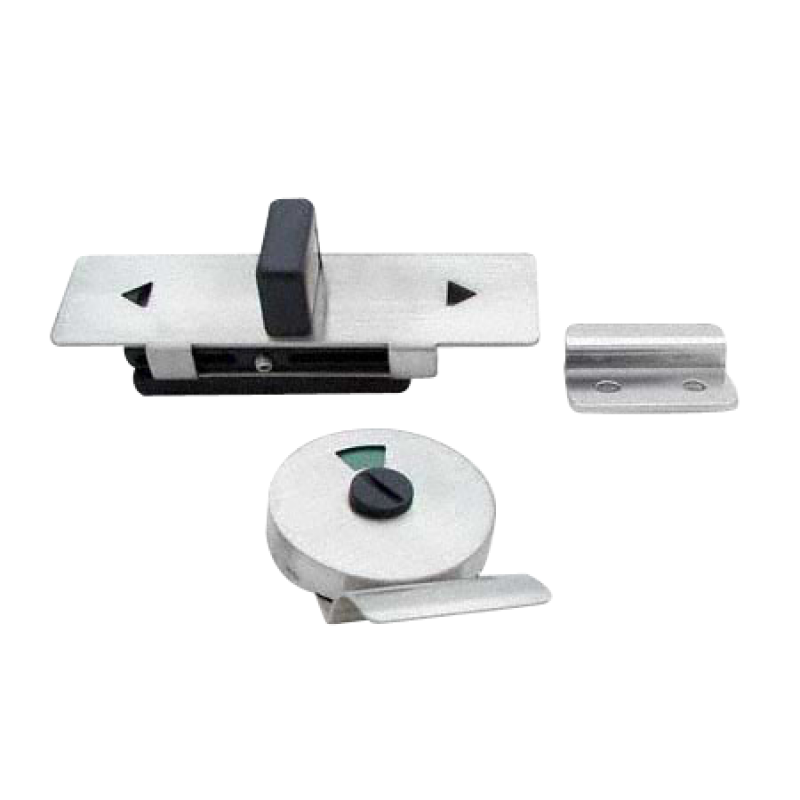 Toilet Partition Door, Stamped Stainless Steel Slide Latch With Keeper, Indicator & Pull 0606