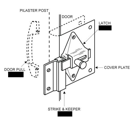 FIX-IT-KIT - Restroom Stall Door Converts Concealed Latch To Slide Latch Operation Outswing 111170