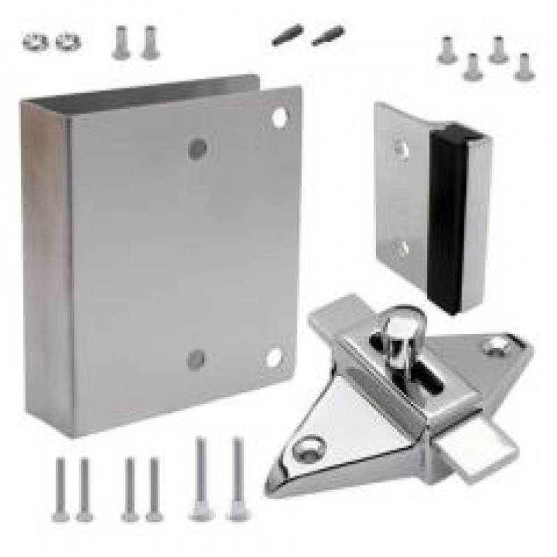 FIX-IT-KIT - Toilet Compartment Door Chrome Plated Converts Concealed Latch To Slide Latch Operation Outswing 111550