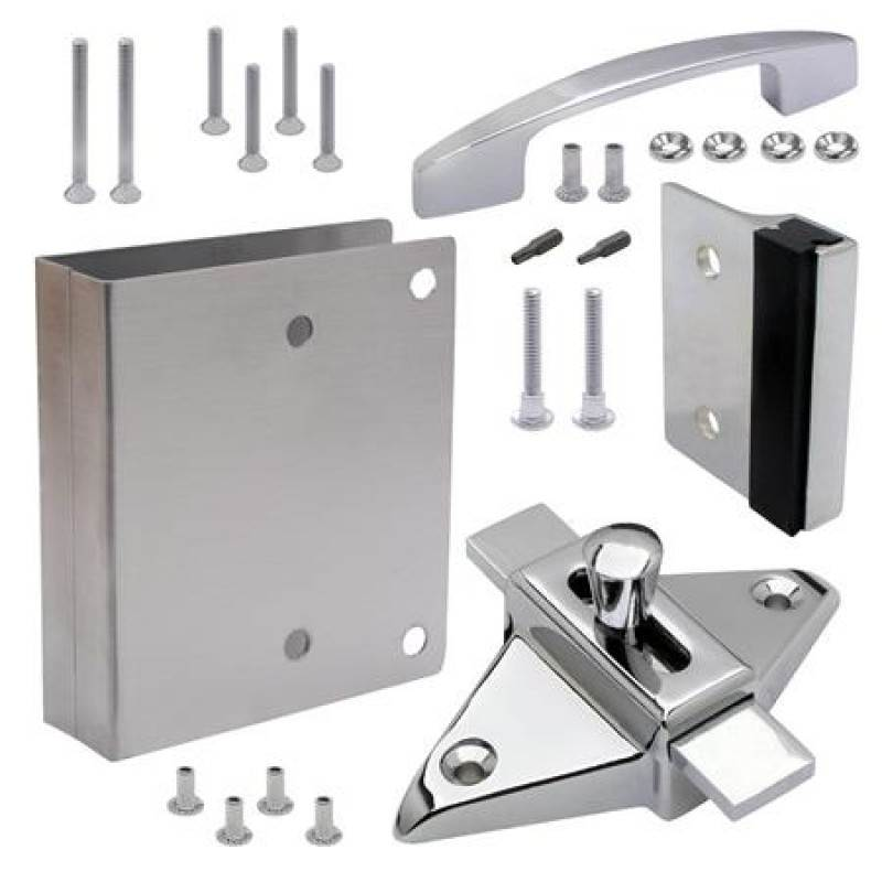 FIX-IT-KIT - Bathroom Partition Door Converts Concealed Latch To Slide Latch Operation Outswing 111551
