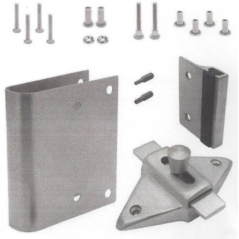 FIX-IT-KIT - Restroom Stall Door Stainless Steel Converts Concealed Latch to Slide Latch Operation Outswing 411169