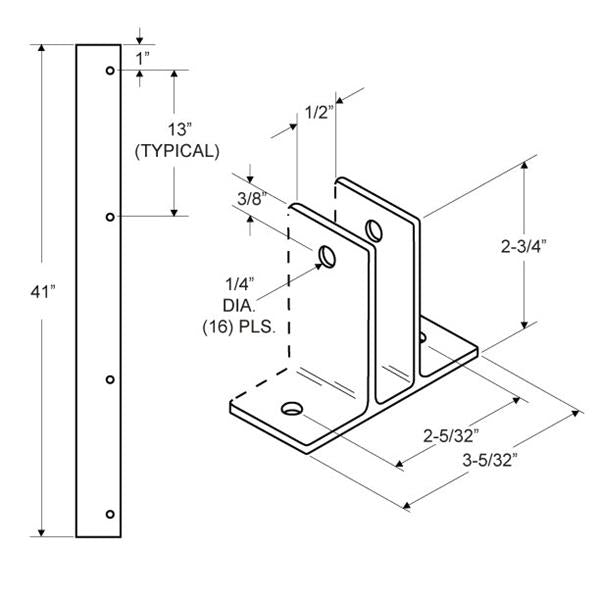 "Extruded Aluminum 41"" Two Ear Wall Bracket For 1/2"" Material - 5205"