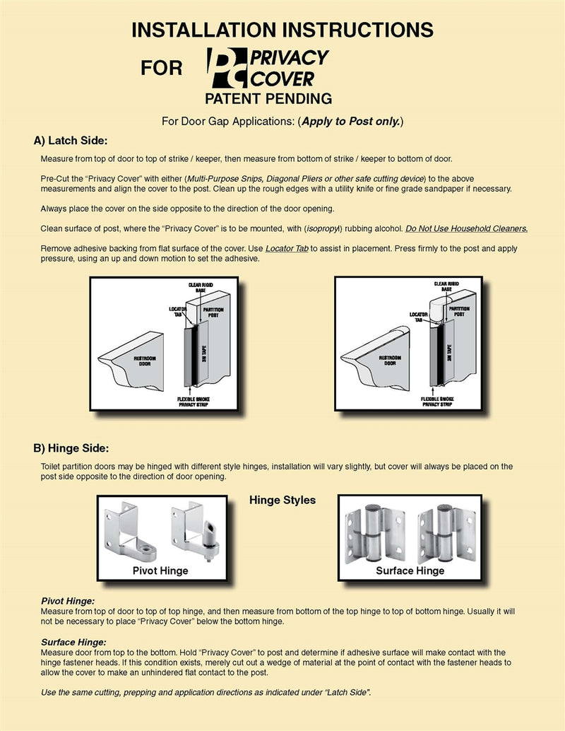 Bathroom Partition Door Privacy Strip Kit 650-1010