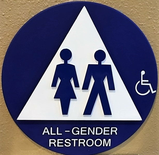 "Royal Blue Series -  12"" Diameter All Gender ADA Bathroom Door Sign SU12AGW"