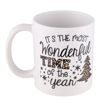 """Its the Most Wonderful Time of the Year"" Leopard Print Christmas Mug"