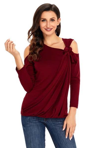 Burgundy Asymmetric Draped Cold Shoulder Top