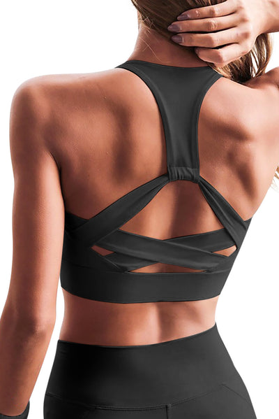 Strapped Up Back Athletic Sports Bra