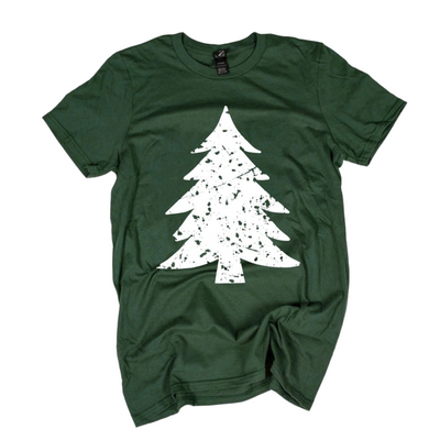 Forest Green vintage Christmas Tree Graphic Tee