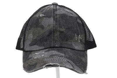 Distressed Camouflage Criss-Cross High Ponytail Ball Cap