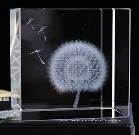 Dandelion Glass Sculpture Laser Etched Dandelion