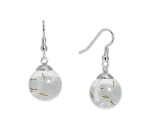 "Dandelion Earrings with Real ""Dandelion Seed"" Jewelry"