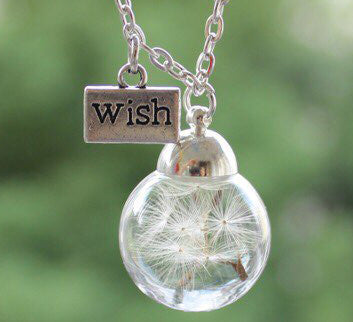 "Glass Globe Pendant Necklace with Real ""Dandelion Seed"" Jewelry"