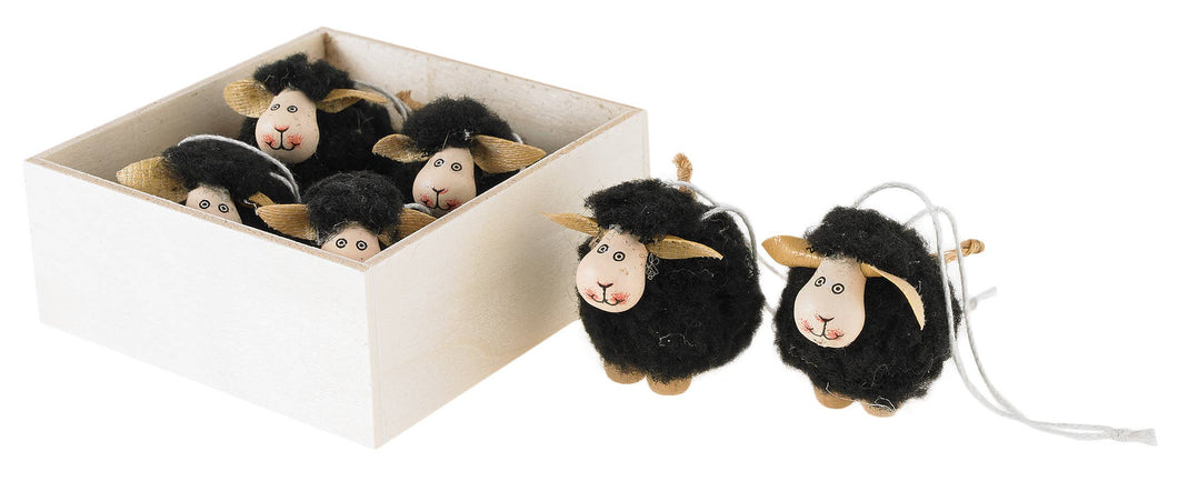Set of 6 Black wooly sheep ornaments, wood box 1.5in  6