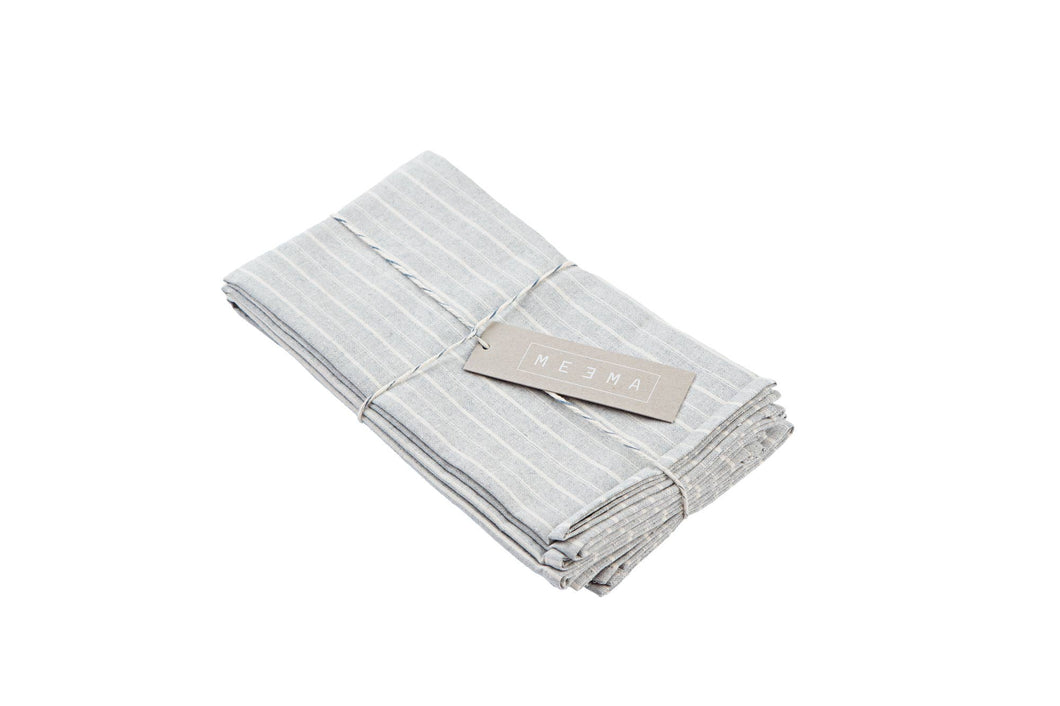 Blue Grey Striped Cotton Napkins