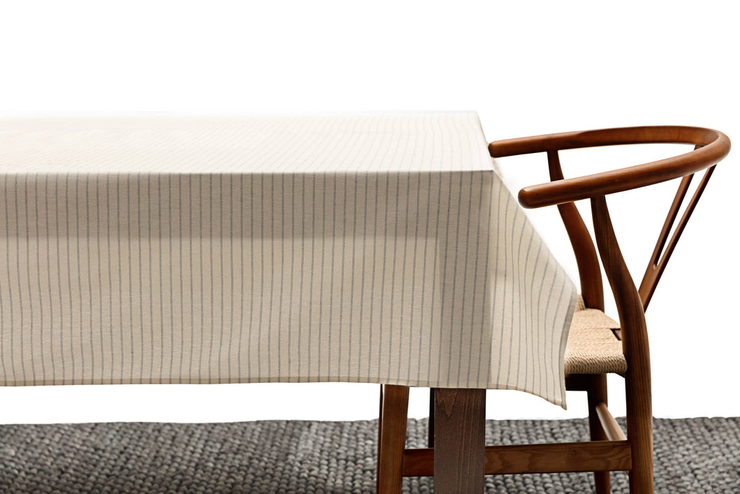 Natural Striped Tablecloth