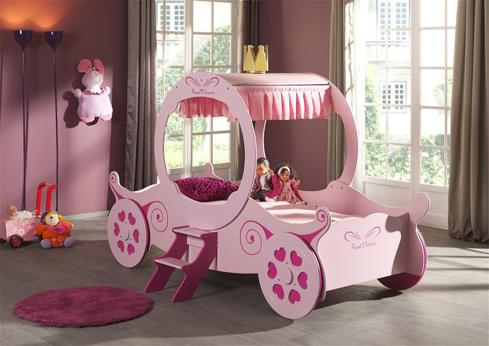 Pink Princess Carriage Single Bed, Choice of Mattresses
