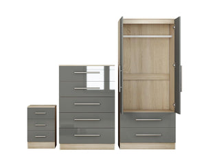 Reflections Trio Bedroom Set, High Gloss Wardrobe, Drawers and Bedside