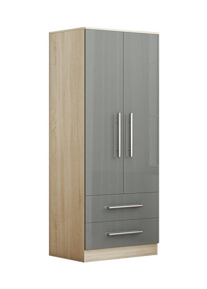 Reflections 2 Door and 2 Drawer Wardrobe in High Gloss Finish