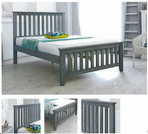 Louis Shaker Style Wooden Bed Frame in Dark Grey