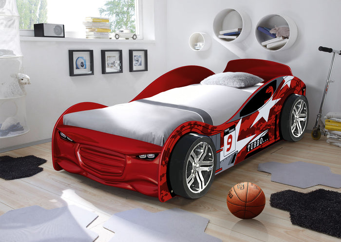 Red Twin Turbo Race Car Bed, Single, Choice of Mattresses