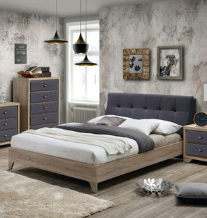 Alla Moda Beechwood Bed Frame with Grey upholstered Headboard