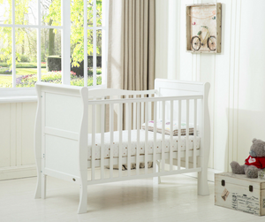 Solid Wooden Sleigh Cot Bed/Toddler Bed, White or Grey