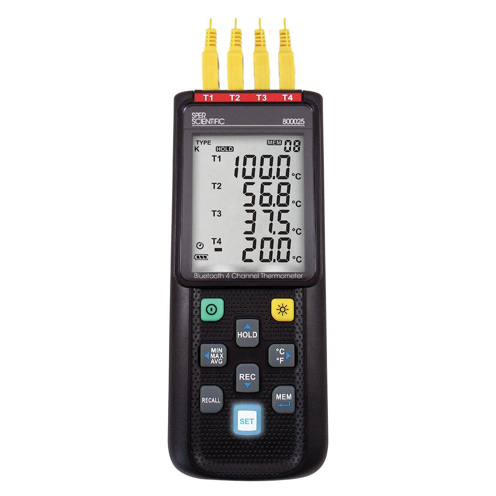 Bluetooth 4 Channel Datalogging Type K Thermometer - Sper Scientific Direct