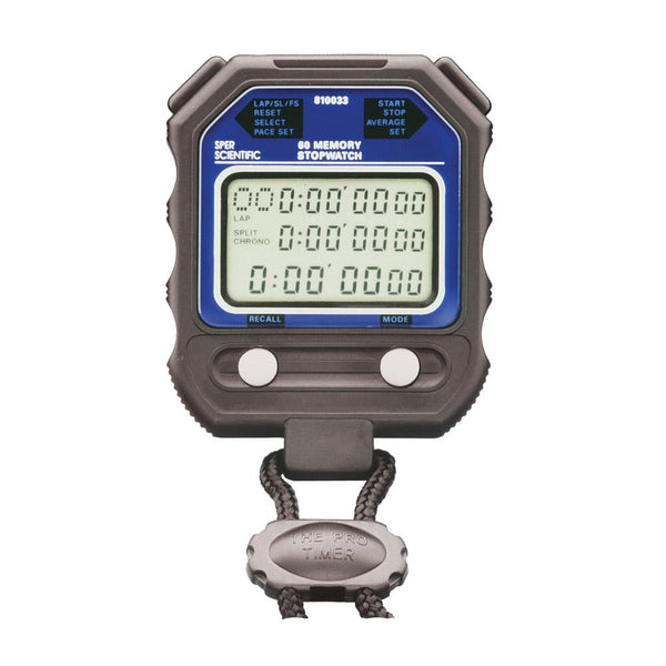 60 Memory Digital Stopwatch - Water Resistant - Sper Scientific Direct