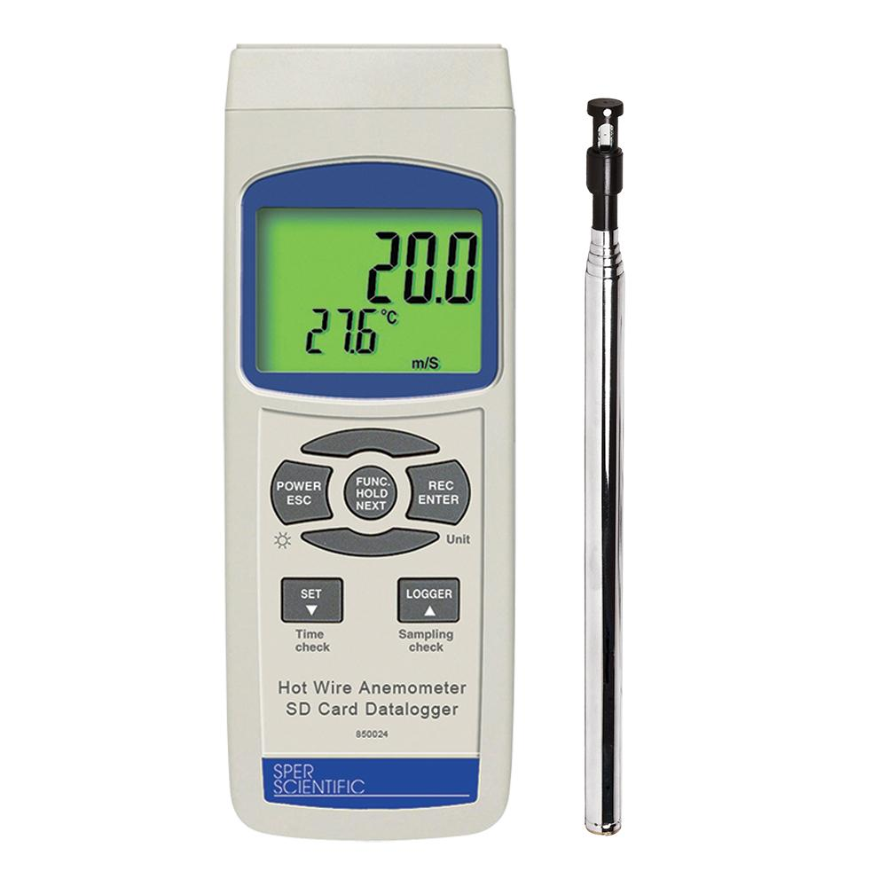 Hot Wire Anemometer with SD Card - Sper Scientific Direct
