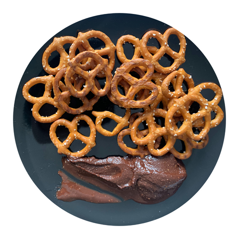 pretzels with chocolate banzo butter