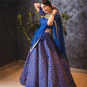 Blue Colored Designer Heavy Embroidered Raw Silk Lehenga