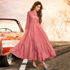 Pink Colored Partywear Embroidered Muslin Silk Gown