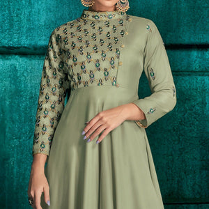 Green Colored Partywear Embroidered Silk Gown