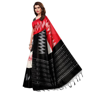 Red-Black Colored Festive Wear Woven Mysore Silk Saree