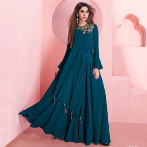 Teal Blue Colored Partywear Embroidered Georgette Gown
