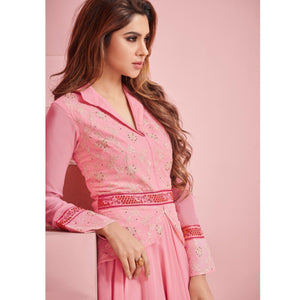 Pink Colored Partywear Embroidered Georgette Gown