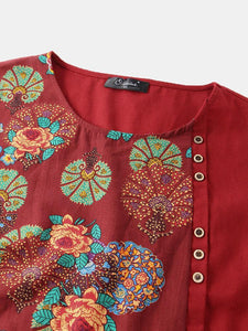 Vintage Flowers Print Patchwork Plus Size T-shirt