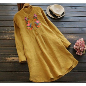 Spring Mustard Color Cotton Linen Embroidered Short Kurti