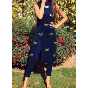 Beautiful Handwork Front Open Stylish Straight Suit (Blue)