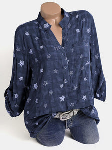 Stars Print V-neck Casual Plus Size Blouse for Women