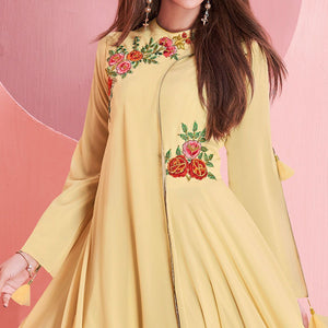Light Yellow Colored Partywear Embroidered Georgette Gown