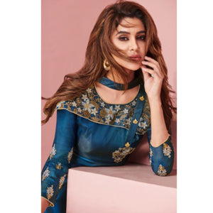 Teal Blue Colored Party Wear Embroidered Tapeta - Satin Gown