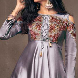 Gray Colored Partywear Embroidered Tapeta Silk Gown